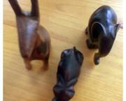 Houten giraffe, nijlpaard en olifant