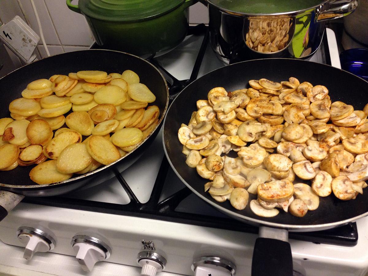 bevroren champignons bakken